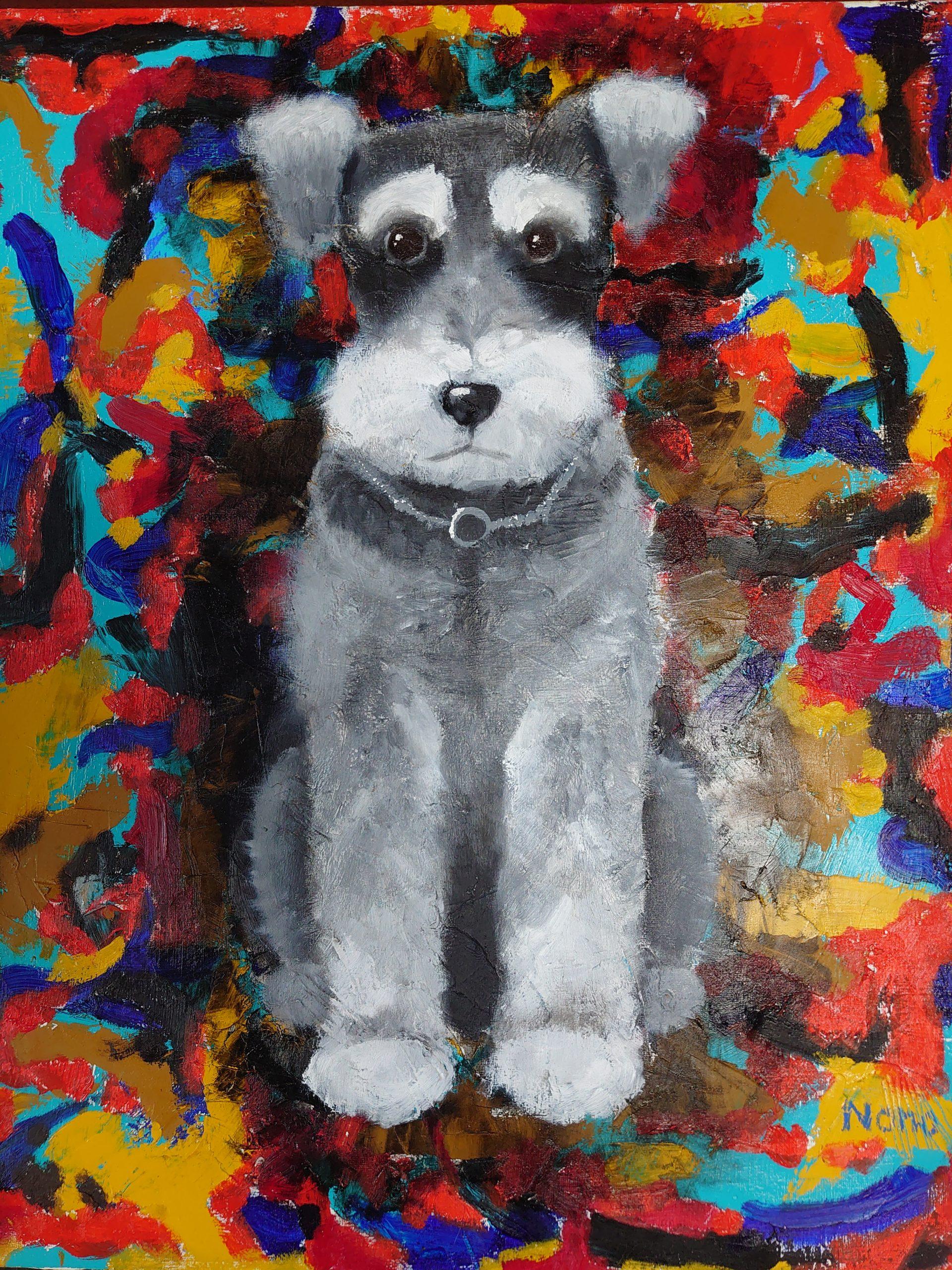 """愛犬 """"ひじひじ"""" が 絵を描いてもらいました!"""
